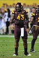 Sep 28, 2013; Tempe, AZ, USA; Arizona State Sun Devils defensive end Davon Coleman (43) during the game against the USC Trojans at Sun Devil Stadium. Mandatory Credit: Matt Kartozian-USA TODAY Sports
