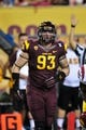 Sep 28, 2013; Tempe, AZ, USA; Arizona State Sun Devils defensive lineman Sean O'Grady (93) during the game against the USC Trojans at Sun Devil Stadium. Mandatory Credit: Matt Kartozian-USA TODAY Sports