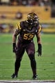 Sep 28, 2013; Tempe, AZ, USA; Arizona State Sun Devils linebacker Carl Bradford (52) during the game against the USC Trojans at Sun Devil Stadium. Mandatory Credit: Matt Kartozian-USA TODAY Sports