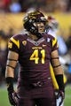 Sep 28, 2013; Tempe, AZ, USA; Arizona State Sun Devils linebacker Viliami Latu (41) during the game against the USC Trojans at Sun Devil Stadium. Mandatory Credit: Matt Kartozian-USA TODAY Sports