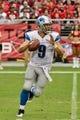 Sep 15, 2013; Phoenix, AZ, USA; Detroit Lions quarterback Matthew Stafford (9) during the game against the Arizona Cardinals at University of Phoenix Stadium. Mandatory Credit: Matt Kartozian-USA TODAY Sports