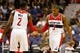 Oct 8, 2013; Washington, DC, USA; Washington Wizards point guard John Wall (2) shakes hands with Wizards shooting guard Bradley Beal (3) against the Brooklyn Nets at Verizon Center. Mandatory Credit: Geoff Burke-USA TODAY Sports