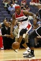 Oct 8, 2013; Washington, DC, USA; Washington Wizards power forward Al Harrington (7) dribbles the ball against the Brooklyn Nets at Verizon Center. Mandatory Credit: Geoff Burke-USA TODAY Sports