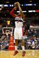 Oct 8, 2013; Washington, DC, USA; Washington Wizards shooting guard Bradley Beal (3) shoots the ball against the Brooklyn Nets at Verizon Center. Mandatory Credit: Geoff Burke-USA TODAY Sports