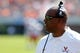 Oct 5, 2013; Charlottesville, VA, USA; Virginia Cavaliers head coach Mike London watches from the sidelines  against the Ball State Cardinals at Scott Stadium. Mandatory Credit: Geoff Burke-USA TODAY Sports
