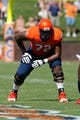 Oct 5, 2013; Charlottesville, VA, USA; Virginia Cavaliers offensive tackle Eric Smith (72) lines up against the Ball State Cardinals at Scott Stadium. Mandatory Credit: Geoff Burke-USA TODAY Sports