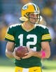 Oct 6, 2013; Green Bay, WI, USA; Green Bay Packers quarterback Aaron Rodgers (12) during warmups prior to the game against the Detroit Lions at Lambeau Field.  Green Bay won 22-9.  Mandatory Credit: Jeff Hanisch-USA TODAY Sports