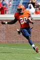 Oct 5, 2013; Charlottesville, VA, USA; Virginia Cavaliers wide receiver Tim Smith (20) runs with the ball against the Ball State Cardinals at Scott Stadium. Mandatory Credit: Geoff Burke-USA TODAY Sports