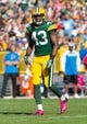 Oct 6, 2013; Green Bay, WI, USA; Green Bay Packers safety M.D. Jennings (43) during the game against the Detroit Lions at Lambeau Field.  Green Bay won 22-9.  Mandatory Credit: Jeff Hanisch-USA TODAY Sports