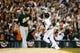 Oct 8, 2013; Detroit, MI, USA; Detroit Tigers designated hitter Victor Martinez (41) reacts after he hit a home run off Oakland Athletics relief pitcher Sean Doolittle (62) in game four of the American League divisional series at Comerica Park. Mandatory Credit: Rick Osentoski-USA TODAY Sports