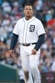 Oct 8, 2013; Detroit, MI, USA; Detroit Tigers third baseman Miguel Cabrera (24) during game four of the American League divisional series the Oakland Athletics at Comerica Park. Mandatory Credit: Tim Fuller-USA TODAY Sports