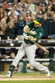 Oct 8, 2013; Detroit, MI, USA; Oakland Athletics designated hitter Seth Smith (15) bats in game four of the American League divisional series against the Detroit Tigers at Comerica Park. Mandatory Credit: Tim Fuller-USA TODAY Sports