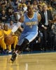 Oct 8, 2013; Ontario, CA, USA; Denver Nuggets guard Randy Foye (4) dribbles the ball against the Los Angeles Lakers at Citizens Business Bank Arena. The Lakers defeated the Nuggets 90-88. Mandatory Credit: Kirby Lee-USA TODAY Sports