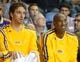 Oct 8, 2013; Ontario, CA, USA; Los Angeles Lakers forward Pau Gasol (left) and guard Kobe Bryant during the game against the Denver Nuggets at Citizens Business Bank Arena. The Lakers defeated the Nuggets 90-88. Mandatory Credit: Kirby Lee-USA TODAY Sports