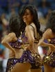 Oct 8, 2013; Ontario, CA, USA; Los Angeles Lakers girls cheerleaders perform during the game against the Denver Nuggets at Citizens Business Bank Arena. Mandatory Credit: Kirby Lee-USA TODAY Sports