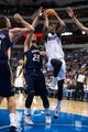 Oct 7, 2013; Dallas, TX, USA; Dallas Mavericks shooting guard Ricky Ledo (7) drives to the basket past New Orleans Pelicans shooting guard Austin Rivers (25) during the game at the American Airlines Center. The Pelicans defeated the Mavericks 94-92. Mandatory Credit: Jerome Miron-USA TODAY Sports