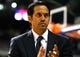 Oct 10, 2013; Auburn Hills, MI, USA; Miami Heat head coach Erik Spoelstra before the game against the Detroit Pistons at The Palace of Auburn Hills. Mandatory Credit: Raj Mehta-USA TODAY Sports