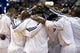 Oct 10, 2013; Auburn Hills, MI, USA; Miami Heat small forward LeBron James (middle) huddles with his team before the game against the Detroit Pistons at The Palace of Auburn Hills. Mandatory Credit: Raj Mehta-USA TODAY Sports