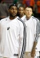Oct 10, 2013; Auburn Hills, MI, USA; Miami Heat small forward LeBron James (left) power forward Chris Andersen (right) and power forward Chris Bosh (middle) before the game against the Detroit Pistons at The Palace of Auburn Hills. Mandatory Credit: Raj Mehta-USA TODAY Sports