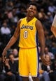 Oct 10, 2013; Las Vegas, NV, USA; Los Angeles Lakers forward Nick Young smiles during an NBA preseason game against the Sacramento Kings at MGM Grand Arena. The Kings won the game 104-86. Mandatory Credit: Stephen R. Sylvanie-USA TODAY Sports