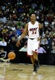 Oct 11, 2013; Kansas City, MO, USA; Miami Heat shooting guard Ray Allen (34) dribbles the ball against the Charlotte Bobcats in the second half at Sprint Center. Miami won 86-75. Mandatory Credit: John Rieger-USA TODAY Sports