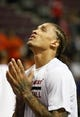 Oct 10, 2013; Auburn Hills, MI, USA; Miami Heat small forward Michael Beasley (8) before the game against the Detroit Pistons at The Palace of Auburn Hills. Mandatory Credit: Raj Mehta-USA TODAY Sports