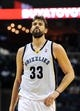 Oct 13, 2013; Memphis, TN, USA; Memphis Grizzlies center Marc Gasol (33) reacts to a call against Haifa at FedExForum. Memphis Grizzlies defeat Haifa 116-70. Mandatory Credit: Justin Ford-USA TODAY Sports