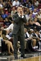 Oct 14, 2013; Sacramento, CA, USA; Sacramento Kings head coach Michael Malone calls out to his players against the Los Angeles Clippers during the second quarter at Sleep Train Arena. Mandatory Credit: Kelley L Cox-USA TODAY Sports