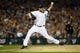 Oct 15, 2013; Detroit, MI, USA;  Detroit Tigers relief pitcher Phil Coke (40) throws against the Boston Red Sox during the ninth inning in game three of the American League Championship Series baseball game at Comerica Park. Mandatory Credit: Rick Osentoski-USA TODAY Sports