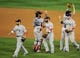 Oct 15, 2013; Detroit, MI, USA;  The Boston Red Sox celebrate after defeating the Detroit Tigers in game three of the American League Championship Series baseball game at Comerica Park. Boston won 1-0.  Mandatory Credit: Tim Fuller-USA TODAY Sports