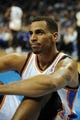 Oct 15, 2013; Oklahoma City, OK, USA; Oklahoma City Thunder shooting guard Thabo Sefolosha (25) reacts to a play in action against the Denver Nuggets during the fourth quarter at Chesapeake Energy Arena. Mandatory Credit: Mark D. Smith-USA TODAY Sports