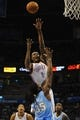 Oct 15, 2013; Oklahoma City, OK, USA; Oklahoma City Thunder power forward Serge Ibaka (9) attempts a shot against Denver Nuggets small forward Kenneth Faried (35) during the third quarter at Chesapeake Energy Arena. Mandatory Credit: Mark D. Smith-USA TODAY Sports