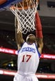 Oct 14, 2013; Philadelphia, PA, USA; Philadelphia 76ers guard Vander Blue (17) dunks during the fourth quarter against the Brooklyn Nets at Wells Fargo Center. The Nets defeated the Sixers 127-97. Mandatory Credit: Howard Smith-USA TODAY Sports