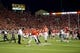 Oct 12, 2013; Salt Lake City, UT, USA; Utah Utes players and fans celebrate a 27-21 victory over the Stanford Cardinal at Rice-Eccles Stadium. Mandatory Credit: Russ Isabella-USA TODAY Sports