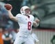 Oct 12, 2013; Salt Lake City, UT, USA; Stanford Cardinal quarterback Kevin Hogan (8) passes the ball during the first half against the Utah Utes at Rice-Eccles Stadium. Utah defeated Stanford 27-21. Mandatory Credit: Russ Isabella-USA TODAY Sports