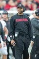 Oct 12, 2013; Salt Lake City, UT, USA; Stanford Cardinal head coach David Shaw reacts during the first half against the Utah Utes at Rice-Eccles Stadium. Utah defeated Stanford 27-21. Mandatory Credit: Russ Isabella-USA TODAY Sports