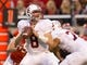 Oct 12, 2013; Salt Lake City, UT, USA; Stanford Cardinal quarterback Kevin Hogan (8) looks to pass during the second half against the Utah Utes at Rice-Eccles Stadium. Utah defeated Stanford 27-21. Mandatory Credit: Russ Isabella-USA TODAY Sports