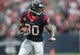 Oct 13, 2013; Houston, TX, USA; Houston Texans wide receiver Andre Johnson (80) makes a reception during the first quarter against the St. Louis Rams at Reliant Stadium. Mandatory Credit: Troy Taormina-USA TODAY Sports