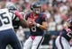 Oct 13, 2013; Houston, TX, USA; Houston Texans quarterback Matt Schaub (8) looks for an open receiver during the first quarter against the St. Louis Rams at Reliant Stadium. Mandatory Credit: Troy Taormina-USA TODAY Sports