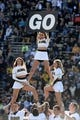 Oct 5, 2013; Boulder, CO, USA; Colorado Buffaloes cheerleaders perform before the game against the Oregon Ducks at Folsom Field. Mandatory Credit: Ron Chenoy-USA TODAY Sports