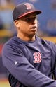 Oct 7, 2013; St. Petersburg, FL, USA; Boston Red Sox left fielder Quintin Berry (50) against the Tampa Bay Rays works out prior to game three of the American League divisional series at Tropicana Field. Mandatory Credit: Kim Klement-USA TODAY Sports