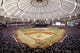 Oct 7, 2013; St. Petersburg, FL, USA; An overview of Tropicana Field during the national anthem between the Tampa Bay Rays and Boston Red Sox of game three of the American League divisional series at Tropicana Field. Mandatory Credit: Kim Klement-USA TODAY Sports