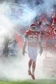 Oct 13, 2013; Kansas City, MO, USA; Kansas City Chiefs inside linebacker Derrick Johnson (56) is introduced before the game against the Oakland Raiders at Arrowhead Stadium. The Chiefs won 24-7. Mandatory Credit: Denny Medley-USA TODAY Sports