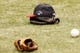Oct 7, 2013; St. Petersburg, FL, USA; A postseason Boston Red Sox hat, glove and ball lay on the grass prior to game three of the American League divisional series against the Tampa Bay Rays at Tropicana Field. Mandatory Credit: Kim Klement-USA TODAY Sports