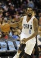Oct 17, 2013; Charlotte, NC, USA; Charlotte Bobcats guard Ben Gordon (8) drives down the court during the pre season game against the Philadelphia 76ers at Time Warner Cable Arena. Bobcats win 110-84. Mandatory Credit: Sam Sharpe-USA TODAY Sports