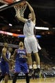 Oct 17, 2013; Charlotte, NC, USA; Charlotte Bobcats forward Cody Zeller (40) drives to the basket as he is defended by Philadelphia 76ers forward Royce White (30) during the pre season game at Time Warner Cable Arena. Bobcats win 110-84.  Mandatory Credit: Sam Sharpe-USA TODAY Sports