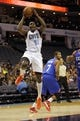 Oct 17, 2013; Charlotte, NC, USA; Charlotte Bobcats forward Anthony Tolliver (43) drives to the basket during the pre season game against the Philadelphia 76ers at Time Warner Cable Arena. Bobcats win 110-84. Mandatory Credit: Sam Sharpe-USA TODAY Sports