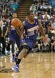 Oct 17, 2013; Sacramento, CA, USA; Phoenix Suns point guard Eric Bledsoe (2) passes the ball up the court during the first quarter against the Sacramento Kings at Sleep Train Arena. Mandatory Credit: Ed Szczepanski-USA TODAY Sports