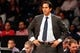 Oct 17, 2013; Brooklyn, NY, USA; Miami Heat head coach Erik Spoelstra during the fourth quarter against the Brooklyn Nets at Barclays Center. Brooklyn won 86-62.  Mandatory Credit: Anthony Gruppuso-USA TODAY Sports