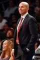 Oct 17, 2013; Brooklyn, NY, USA;  Brooklyn Nets head coach Jason Kidd during the third quarter against the Miami Heat at Barclays Center. Brooklyn won 86-62.  Mandatory Credit: Anthony Gruppuso-USA TODAY Sports